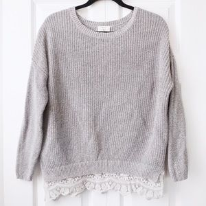Anthro Pins And Needles Gray Knit Lace Sweater